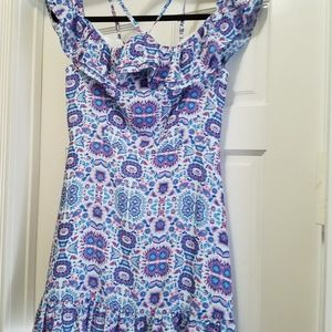 Aqua floral frilly dress